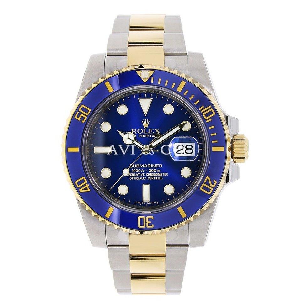 Rolex Submariner Steel 18k Yellow Gold Blue Ceramic 116613