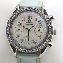 Omega Steel Automatic Mother of pearl Arabic numerals 38,5mm pre-owned Speedmaster Ladies Chronograph