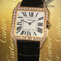 Cartier Santos Dumont pre-owned 30.3mm Silver Leather