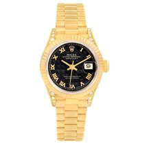 Rolex Yellow gold Automatic Black Roman numerals 26mm pre-owned Lady-Datejust