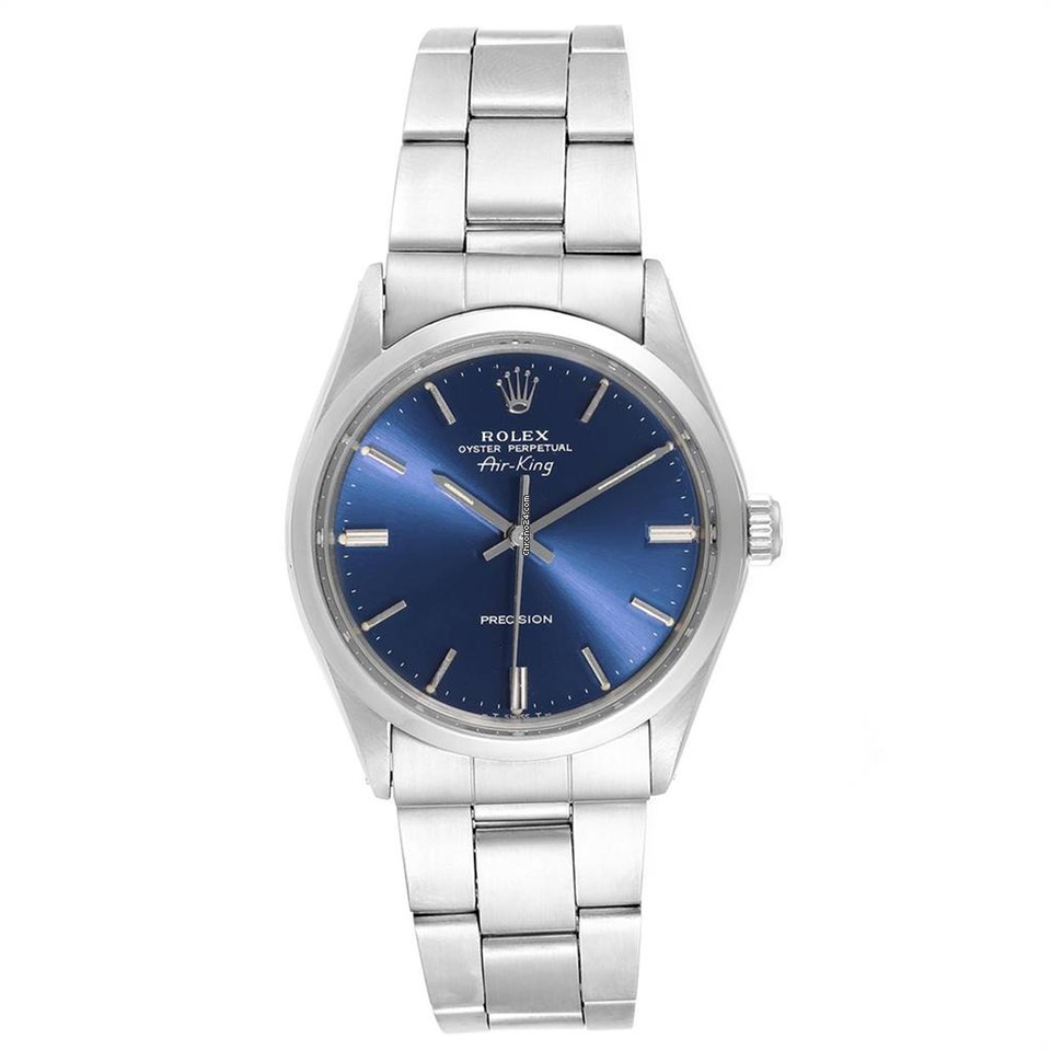 Rolex Air King Vintage Stainless Steel Blue Dial Mens Watch 5500
