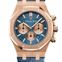 Audemars Piguet Royal Oak Chronograph Ouro rosa 41mm Azul Sem números