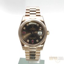 Rolex Day-Date 36 Ouro rosa 36mm Castanho Sem números