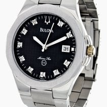Bulova Marine Star Mens Black Dial, Stainless Steel Band Watch...