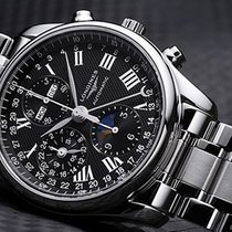 Longines Master Collection pre-owned 40mm Black Moon phase Chronograph Date Weekday Month Annual calendar Perpetual calendar GMT Steel