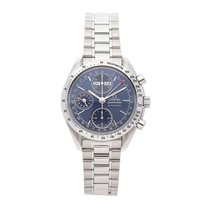 Omega Speedmaster Day Date pre-owned 39mm Blue Chronograph Date Month Tachymeter Fold clasp
