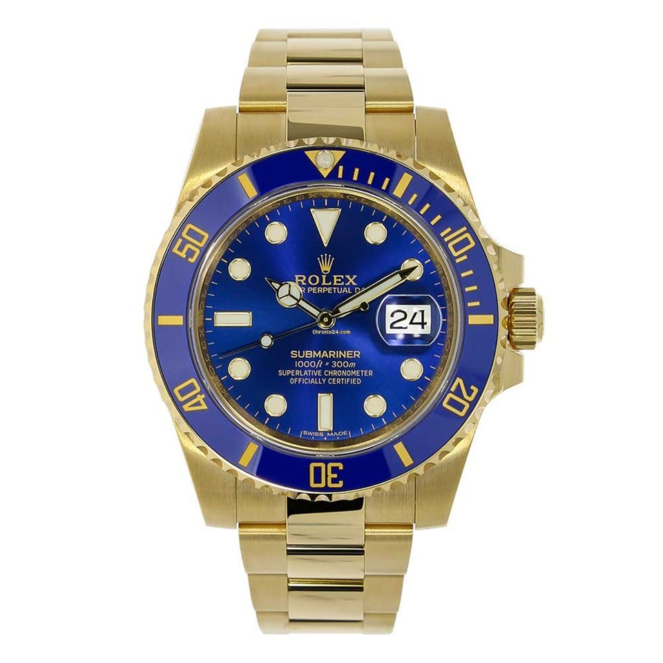 Rolex Submariner Yellow Gold Blue Ceramic Watch 116618lb