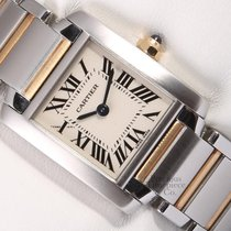 Cartier Lady Tank Francaise 2384-2-Tone 18k/SS 26mm-White...
