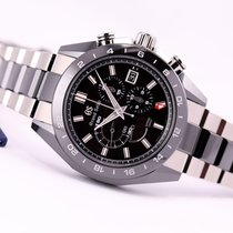 Seiko Grand Seiko Spring Drive Ceramic Chronograph GMT Black Dial