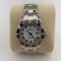 Rolex Lady-Datejust Pearlmaster Ouro branco 29mm Preto Romanos