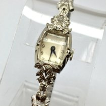 Benrus 14K Solid White Gold Ladies Watch w/ DIAMONDS &...