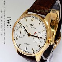 IWC Yellow gold Automatic Silver 42mm pre-owned Portuguese Automatic