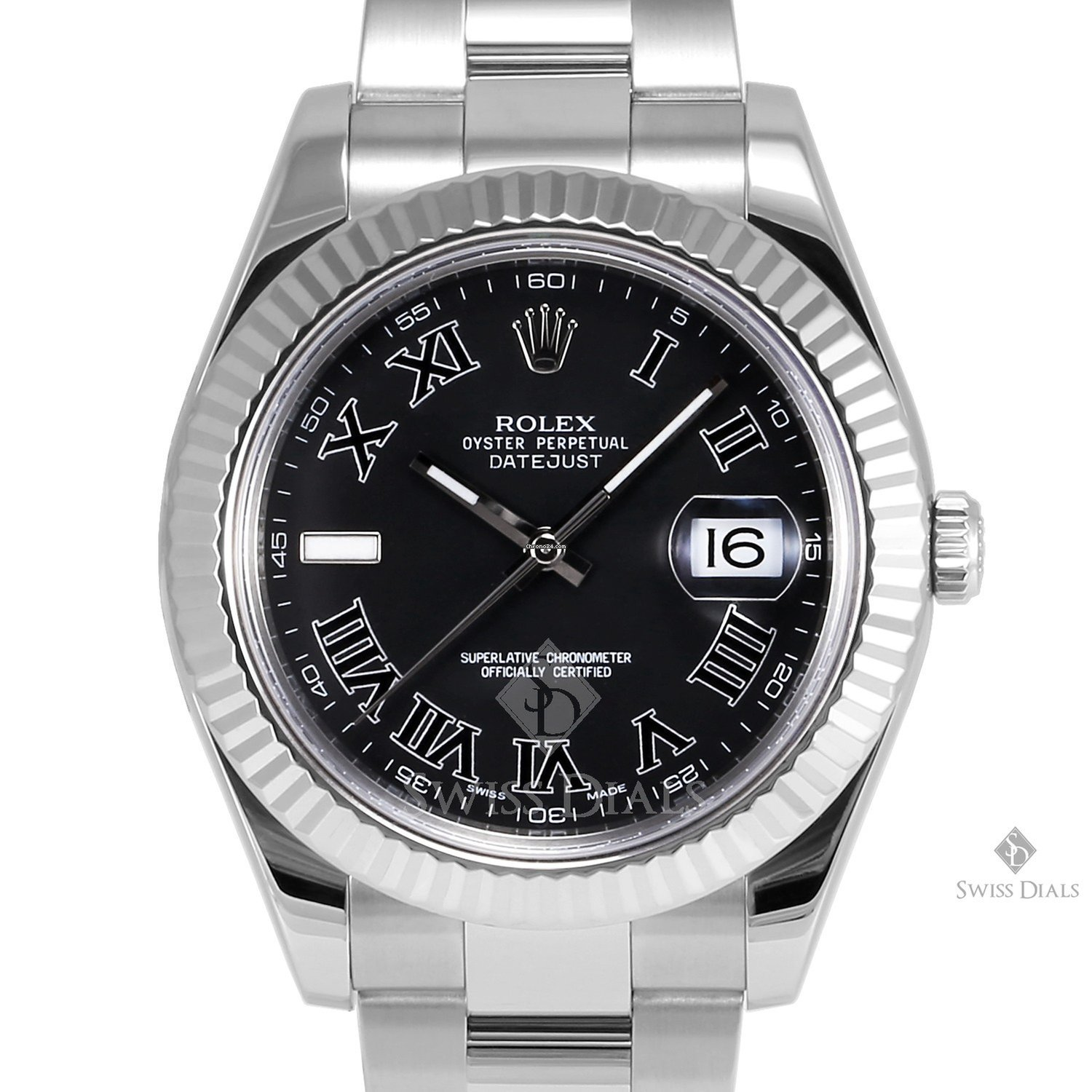 Rolex Datejust II Stainless Steel Black Roman Numeral Dial