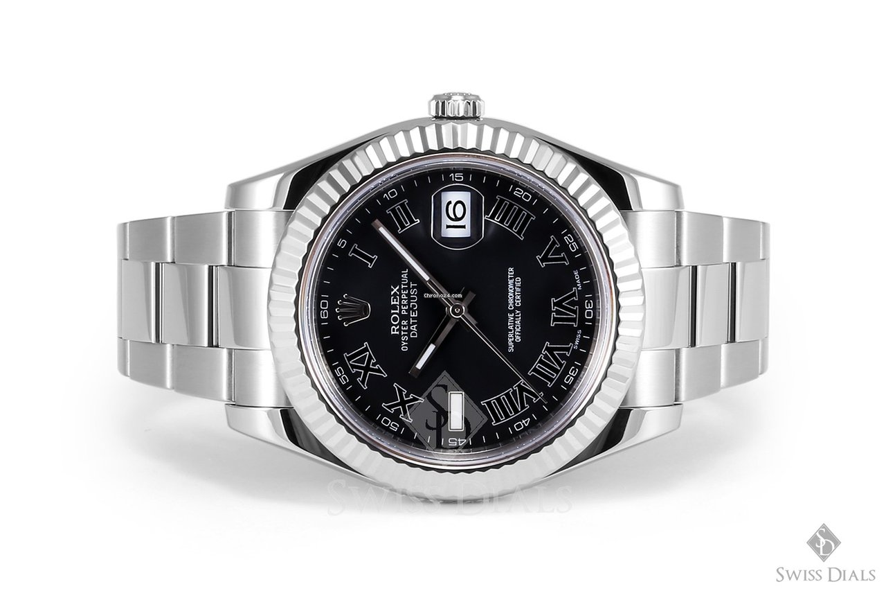 Rolex Datejust II Stainless Steel Black Roman Numeral Dial Fluted Bezel  Oyster Band