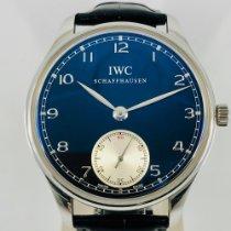 IWC Portuguese Hand-Wound Acciaio 44mm Blu Arabo Italia, Roma
