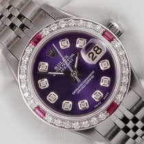 Rolex Silver Automatic Purple 26mm pre-owned Lady-Datejust