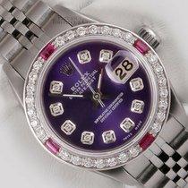 Rolex Zilver Automatisch Paars 26mm tweedehands Lady-Datejust