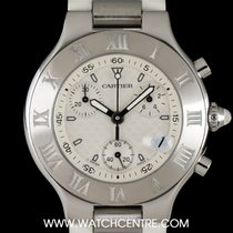 Cartier Stainless Steel Silver Dial Chronoscaph 21 Gents Watch