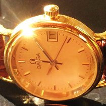 オメガデビル ・中古・時計 (説明書付き、化粧箱入り)・25 x 28 mm・イエローゴールド
