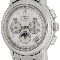 Zenith El Primero Chronomaster pre-owned 40mm Silver Moon phase Chronograph Date Steel