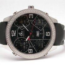 Jacob & Co. 5 Time Zones Diamond Case Quartz 47mm Black Band...