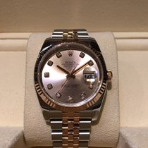 Rolex Datejust 36mm Steel and Rose Gold Diamond Dial B&P