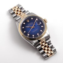 Rolex 18K & SS DATEJUST Factory Blue Vignette Diamond Dial w/ Box