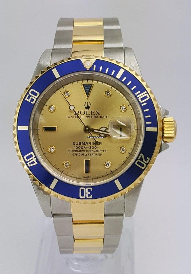 Rolex Submariner/2 Tone /Gold Face/Blue Bezel/16613