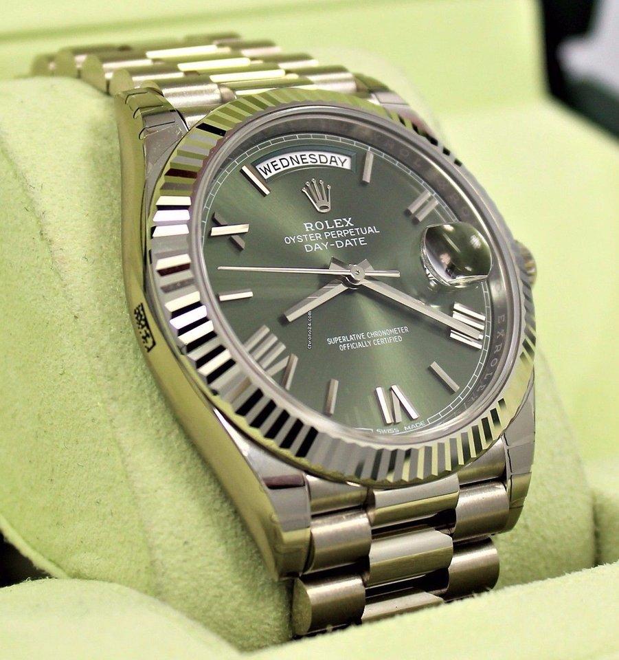 Rolex President 40mm Day Date 228239 18k W Gold Green Roman Dial