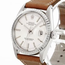 Rolex Datejust pre-owned 36mm Silver Date Leather