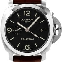 Panerai Luminor 1950 3 Days GMT Automatic Aço 44mm Preto Árabes