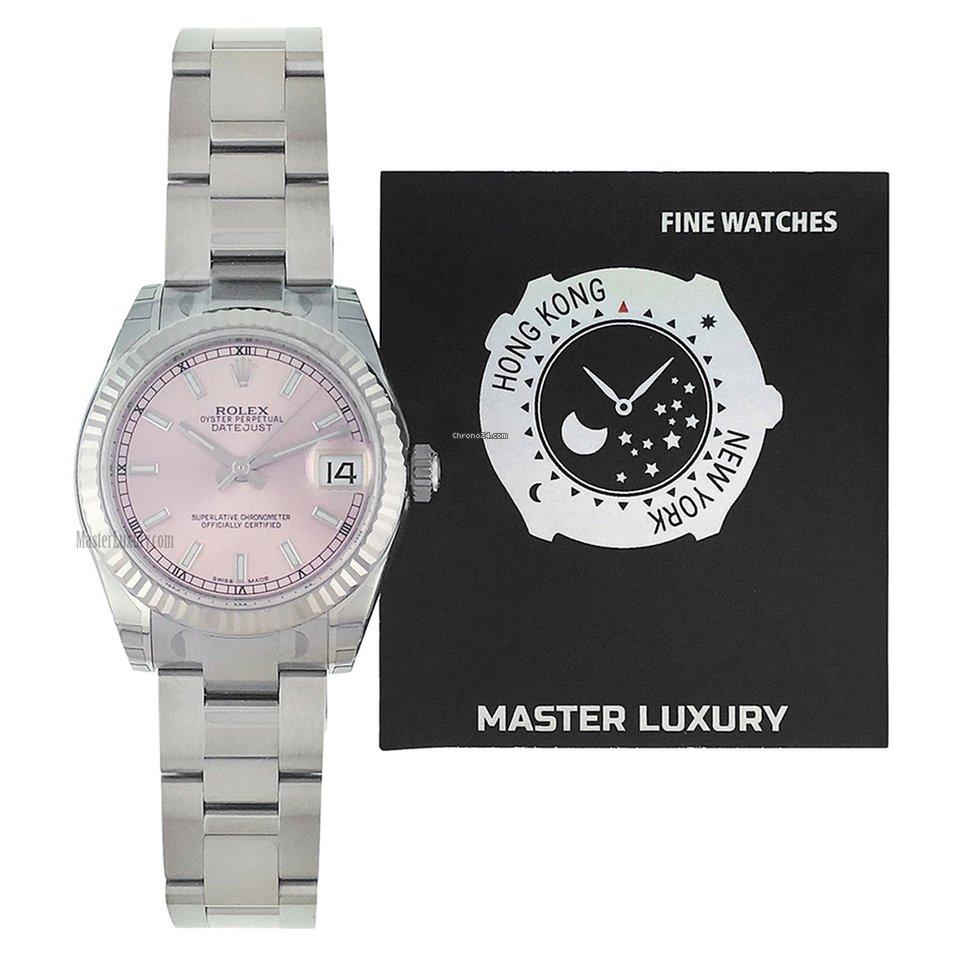 Rolex 178274 Datejust 31mm Pink Dial Oyster Bracelet Ss Wg