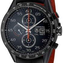 TAG Heuer Carrera Calibre 1887 pre-owned 43mm Black Date Leather