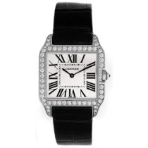 Cartier White gold Quartz Silver Roman numerals 38mm new Santos Dumont
