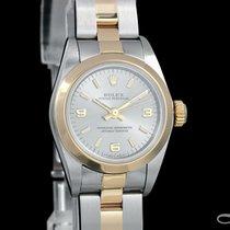 Rolex Oyster Perpetual Ouro/Aço 26mm Cinzento