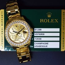Rolex Pearlmaster 34 18k Gold & Diamond Arabesque Dial...