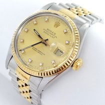 Rolex Datejust Herren Uhr Box Papiere Diamanten Stahl Gold For S