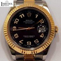 Rolex Datejust II Goud/Staal 41mm Zwart Arabisch