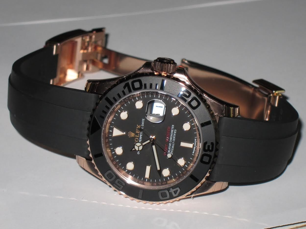 Rolex Yacht,Master 18K Everose Gold Rubber Strap Automatic