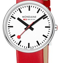 Mondaine Steel 35mm Quartz A763.30362.11SBC MONDAINE GIANT SPECIALS Bianco Rosso 35mm new