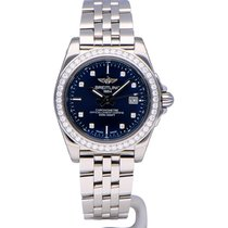 Breitling Galactic 32 steel blue diamond dial and bezel. Full...