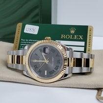 Rolex Datejust II Złoto/Stal 41mm Szary Rzymskie