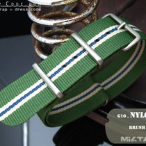 MiLTAT Thick 22mm NATO Watch Strap, Grn, Wh, Bl, Brushed