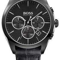 Hugo Boss Onyx Chronograph Black Steel Mens Strap Watch Black...