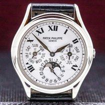 Patek Philippe Perpetual Calendar použité 36mm Měsíční fáze Datum Ukazatel měsíce Ukazatel roku Kalendář s ročními obdobími Věčný kalendář Krokodýlí kůže