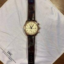 IWC Portuguese Chronograph pre-owned 42mm Silver Chronograph Date Crocodile skin