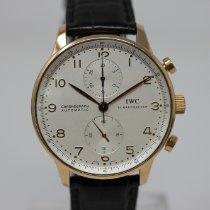 IWC Portugieser Chronograph gebraucht 40.9mm Silber Chronograph Krokodilleder