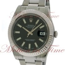 Rolex Datejust II 41mm, Black Dial, White Gold Fluted Bezel -...