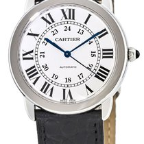 Cartier Ronde Solo 36MM Steel Black Leather Automatic Unisex...