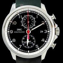 IWC Portuguese Yacht Club Chronograph Staal 45mm Zwart Arabisch